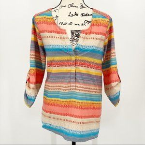 Truth NYC Multi Colored Blouse Roll Tab Sleeves L
